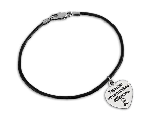 Together We Can Make A Difference Charm on Black Cord Bracelet for Causes - The House of Awareness