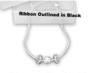 White Charms and Black outlined Ribbon Awareness Necklace for Causes - The House of Awareness