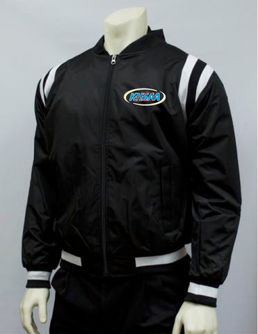 "BKS227-""KY"" Smitty Collegiate Style Black Jacket w/ Black & White Side Insets"