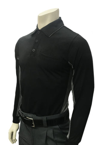 "BBS315 - ""BODY FLEX"" Smitty ""Major League"" Style Long Sleeve Umpire Shirt - Black Body with Vented Charcoal Side and Back Panel"