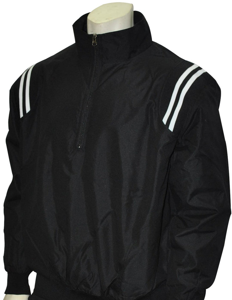 BBS320 BLK/BLK/WHT - Smitty Long Sleeve Microfiber Shell Pullover Jacket W/ Half Zipper