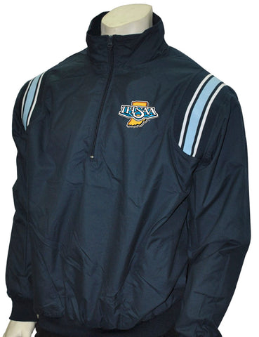 "BBS320IN NY/PB/White ""IHSAA"" Smitty Long Sleeve Microfiber Shell Pullover Jacket w/ Half Zipper"