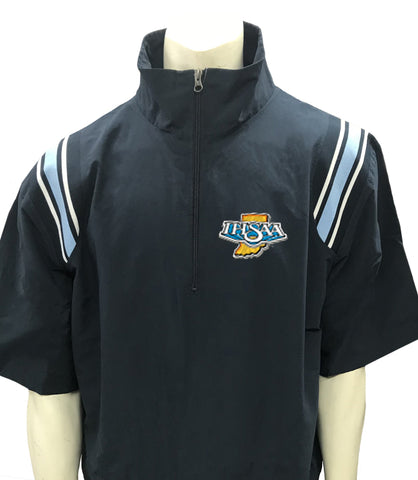 "BBS324IN NY/PB/White ""IHSAA"" Smitty 1/2 Sleeve Microfiber Shell Pullover Jacket w/ Half Zipper"