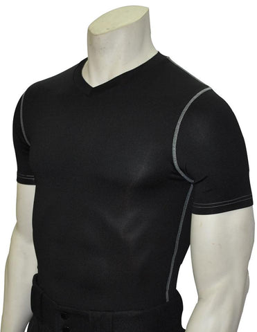 BKS411-Smitty Black Compression Short Sleeve V-Neck Shirt