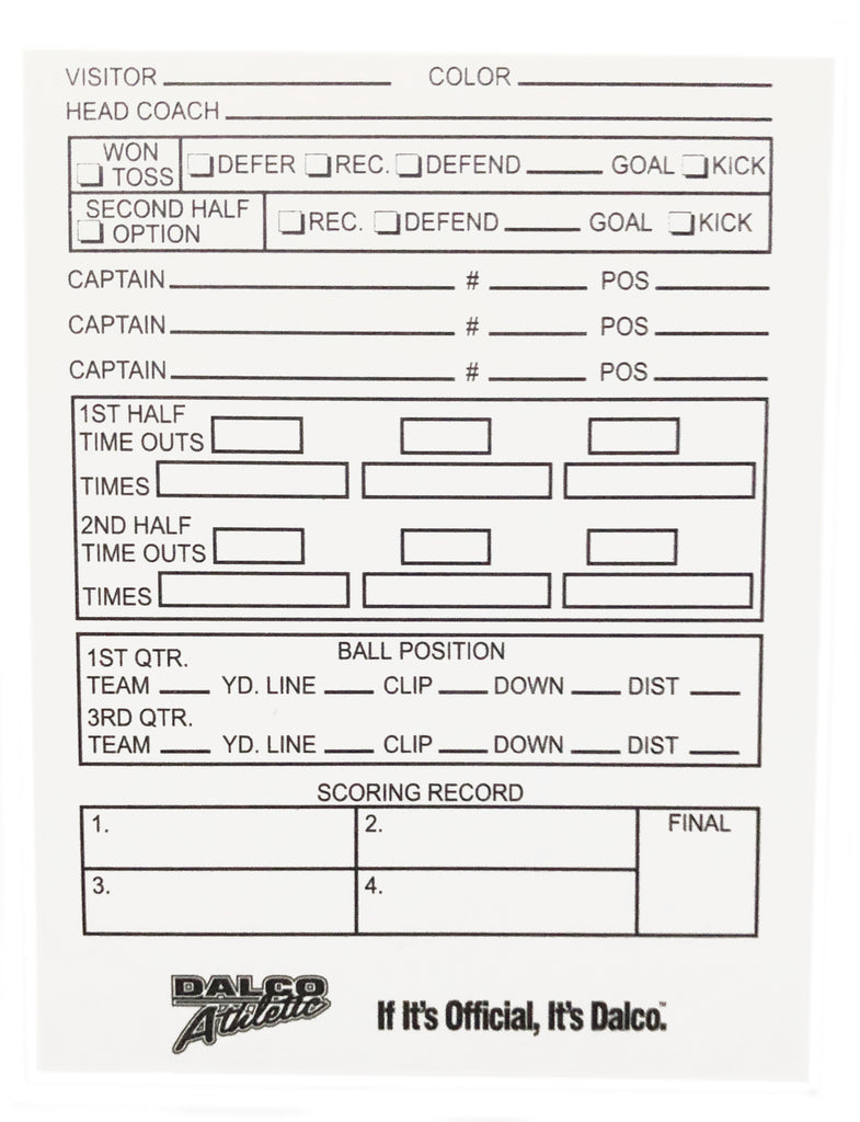 D3510 - Dalco Football Throw-Away Game Card