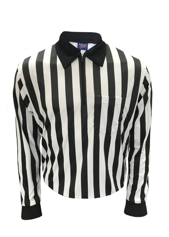 "D724LS -Dalco Pro Comfort 1"" Black & White Stripe Interlock Football Official's Shirt - Long Sleeve"