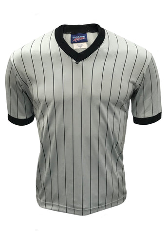 D725 - Dalco Men's Basketball Referee Officials Shirt Pro Comfort Cooling Fabric Grey With Pinstripe