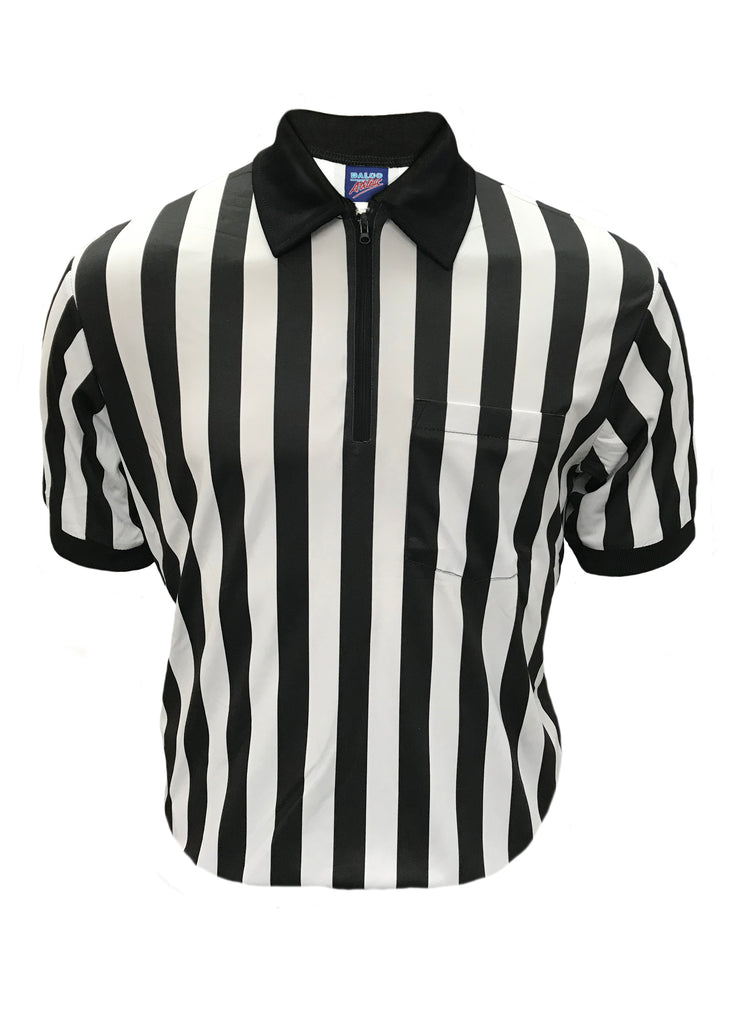 "D730P -Dalco Pro Comfort 1"" Black & White Stripe Interlock Football Official's Shirt - Short Sleeve"