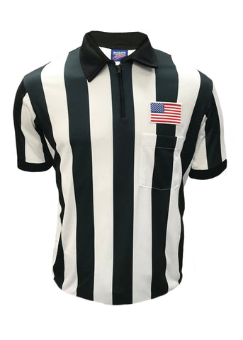 "D740P - ""CLEARANCE ITEM"" - Dalco Short Sleeve 2"" Black & White StripeFootball Referee Shirt w/USA Flag Patch Above Pocket"