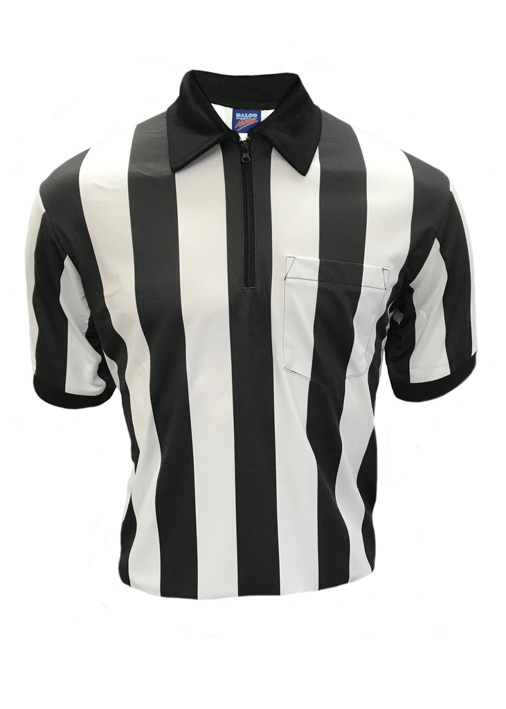 "D741P - Dalco Short Sleeve 2"" Black & White Stripe Football Officials Referee Shirt with Moisture Management Fabric"