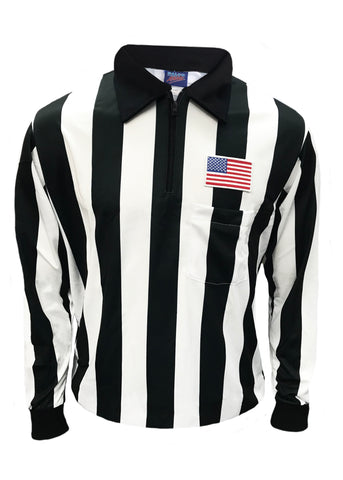 "D744P - ""CLEARANCE ITEM"" Dalco Long Sleeve 2"" Black & White Stripe Football Referee Shirt with USA Flag Patch above Pocket"