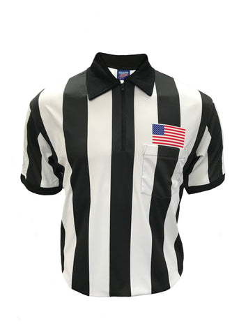 "D745P -  Football Short Sleeve Fully Dye Sublimated 2 1/4"" Shirt Black & White Stripes- High Quality Moisture Management Fabric"