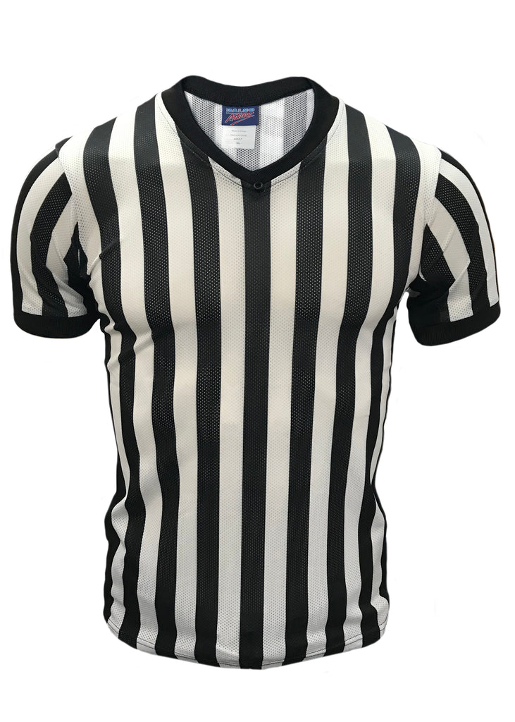 "D815 - ""CLEARANCE ITEM"" Dalco Basketball Officials V Neck Shirt with Black Side Panel With Cooling Mesh Fabric"