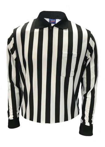 "D824 - Dalco Football 1"" Black & White Stripe Official's Shirt with Knit Collar - Long Sleeve"