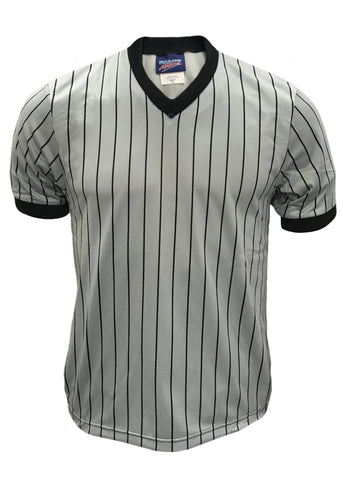 D825 - DalcoBasketball Official's Shirt Grey Black Pinstripe Mesh Moisture Management