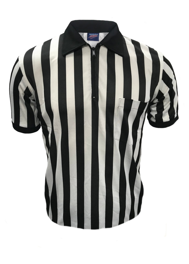 "D830 - ""CLEARANCE ITEM"" Dalco Pin Dot Mesh Football 1"" Black & White Stripe Referee Shirt"