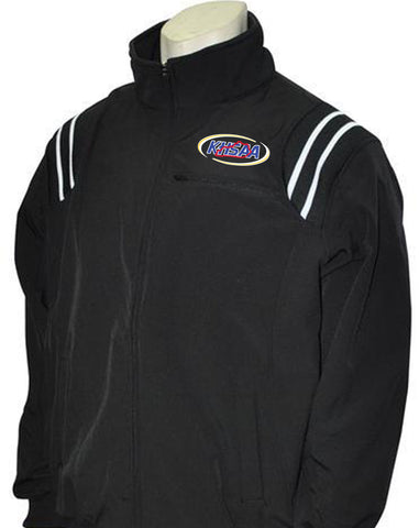 "BBS320KY Black/White ""KHSAA"" Smitty Long Sleeve Microfiber Shell Pullover Jacket w/Half Zipper"