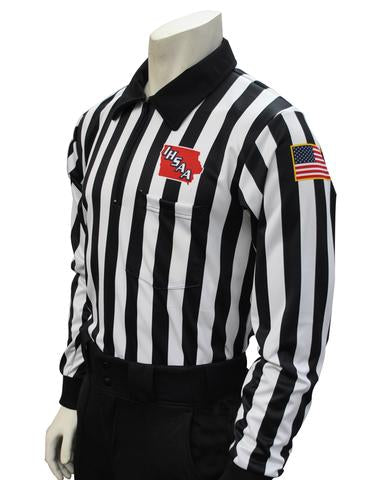 USA730 100IA - Dye Sub Iowa Football Foul Weather Long Sleeve 1 Inch Stripe