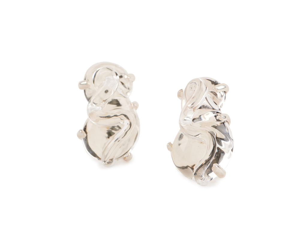 Clear Glass Earrings set in Silver and Vermeil, s shape