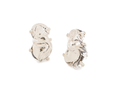 View Clear Glass Earrings set in Silver and Vermeil, s shape