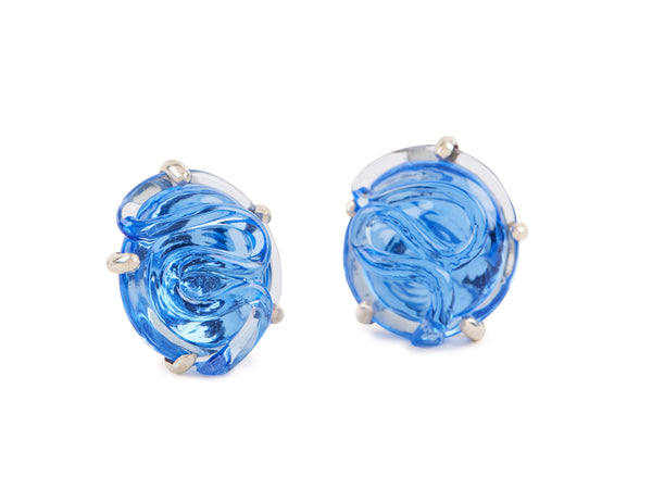 Glass Earrings, Round Shape,  Set in Silver and in Vermeil