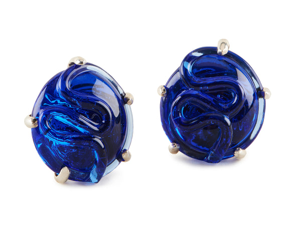 Glass Earrings, Round Shape, Set in Silver or Vermeil