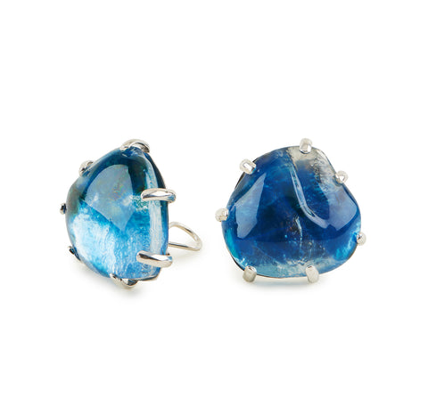 Clear Glass Chunk Enamelled Earrings