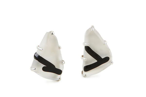 Clear Glass Chunk Earrings, Frosted, with Frosted Black Lines