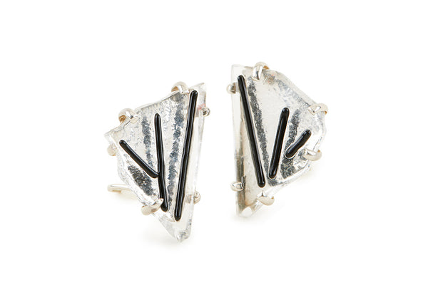 Clear Glass Chunk Earrings with Black Detail