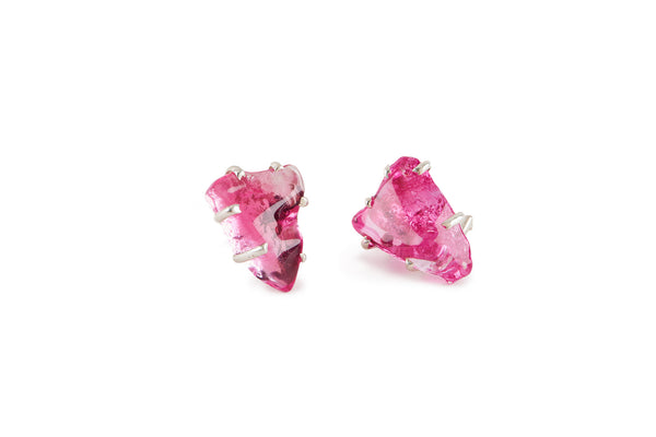 Hot Pink Glass Chunk Earrings