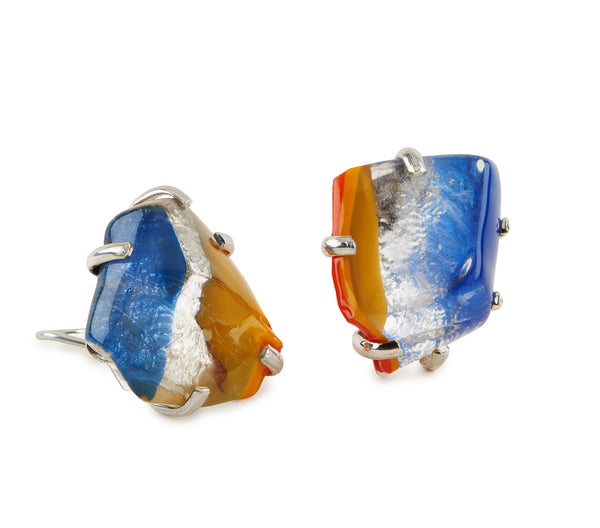 Red, Yellow and Orange Glass Earrings