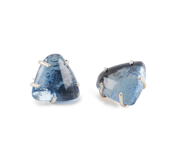 Sapphire Glass Chunk Earrings