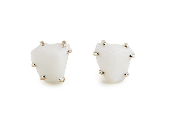 White Glass Chunk Earrings
