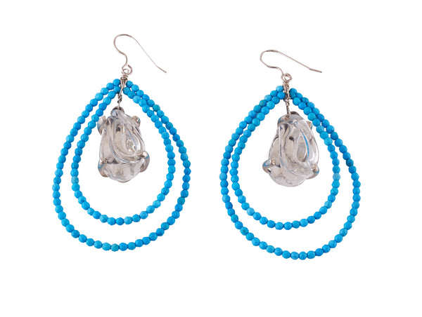 Tear Drop beaded Earrings, with Glass Center, set in Silver and in Vermeil.