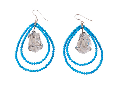 View Tear Drop beaded Earrings, with Glass Center, set in Silver and in Vermeil.