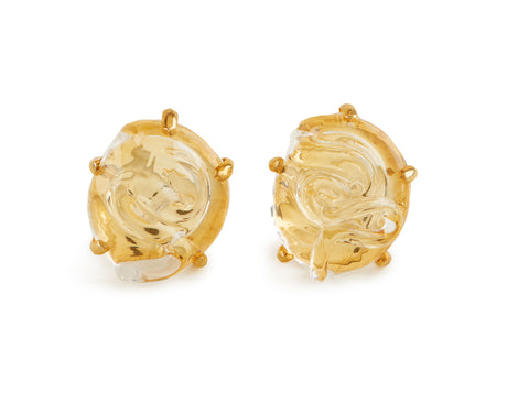 View Glass Earrings, Round Shape,  Set in Silver and in Vermeil