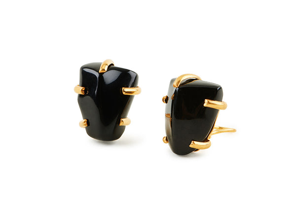 Black Glass Chunk Earrings