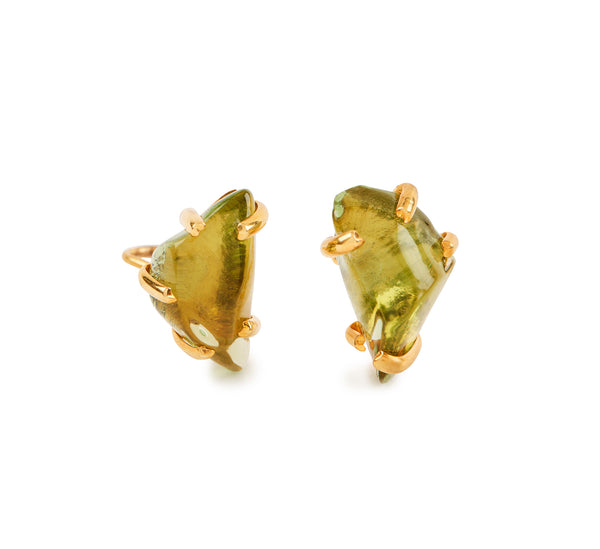 Peridot Glass Chunk Earrings