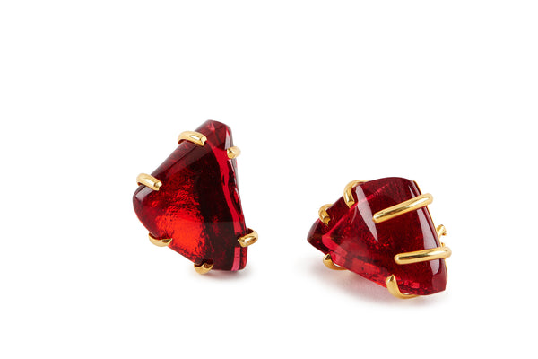Red Ruby Glass Earrings