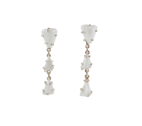 White Chunk Glass Chandelier Earrings