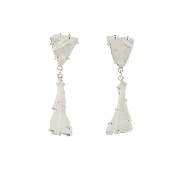 Clear Glass Drop Earrings,  with White Line Design