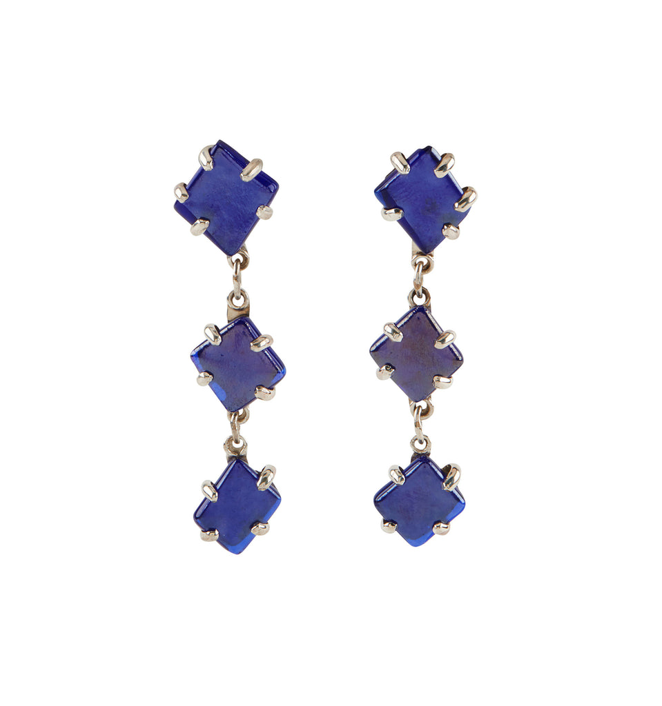 Blue Glass Chandelier Earrings