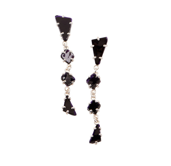 Black Glass Chandelier Earrings