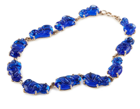 Royal Blue Glass Necklace