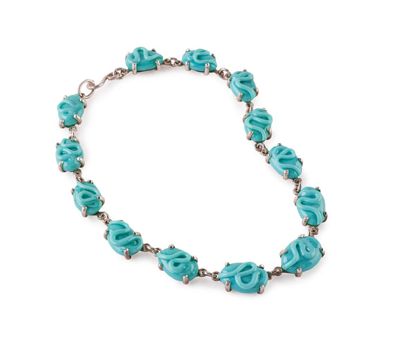 Turquoise Glass Necklace, set in Silver