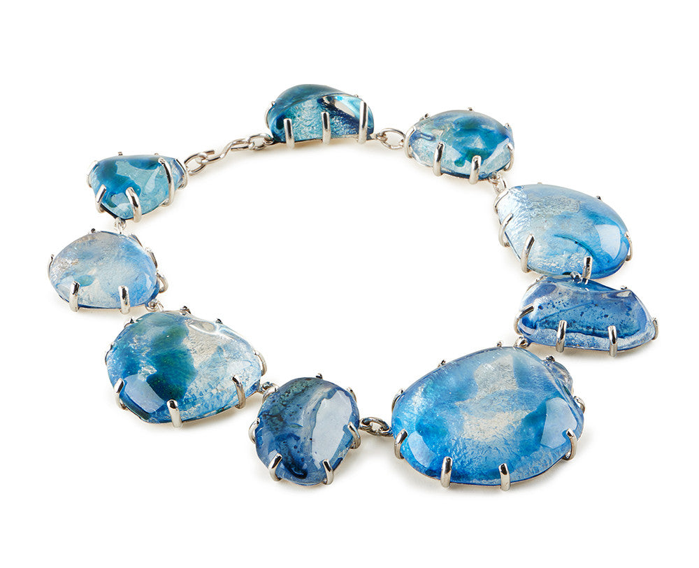 Clear Glass Chunk, Blue Enamel Necklace