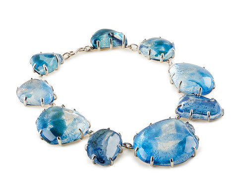 View Clear Glass Chunk, Blue Enamel Necklace