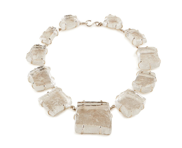 Clear Glass Chunk Necklace