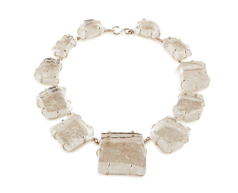 View Clear Glass Chunk Necklace