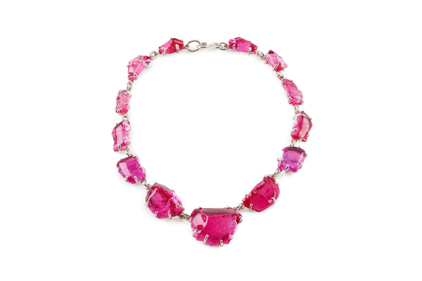Hot Pink Glass Chunk Necklace
